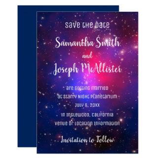 Blåttrosa- och lilautrymme avbildar spara datera 12,7 x 17,8 cm inbjudningskort