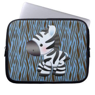 Blåttsebra & djur trycklaptop sleeve för struktur laptop datorfodral