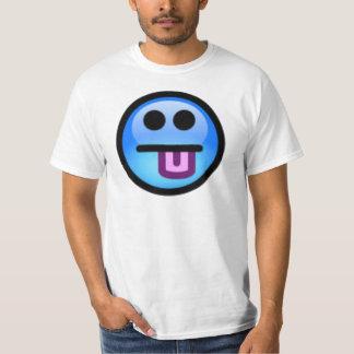 Blåttsmiley face med tungan som ut klibbar. t-shirts