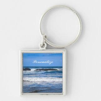 BlåttStilla hav med namn Fyrkantig Silverfärgad Nyckelring