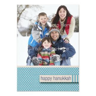 Blåttstjärnamönster, lyckligt Hanukkah fotokort 12,7 X 17,8 Cm Inbjudningskort