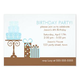 Blåtttårta och presenterfödelsedagsfest 12,7 x 17,8 cm inbjudningskort