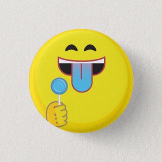 Blåtttunga Emoji Mini Knapp Rund 3.2 Cm