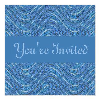 blåttvågar fyrkantigt 13,3 cm inbjudningskort