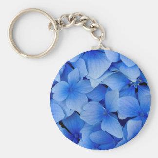 Blåttvanlig hortensiablommor rund nyckelring