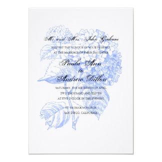 Blåttvanlig hortensiainbjudan 12,7 x 17,8 cm inbjudningskort