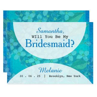 Blåttvattenfärgblommigten ska dig är min brudtärna 8,9 x 12,7 cm inbjudningskort