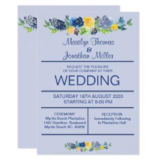 Blåttvattenfärgen blommar bröllopinbjudan 12,7 x 17,8 cm inbjudningskort