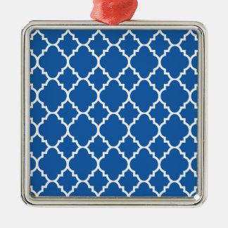 BlåttvitQuatrefoil marockanskt mönster Silverfärgad Fyrkantigt Julgransprydnad
