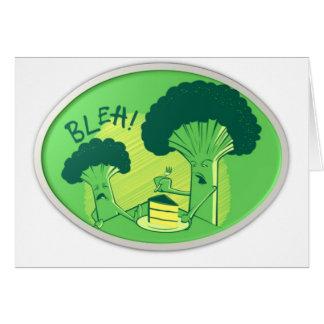 Bleh broccoli som kasserar tårtan hälsningskort