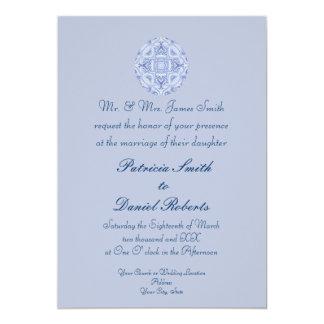 Blek - blåttmönsterbröllop 12,7 x 17,8 cm inbjudningskort