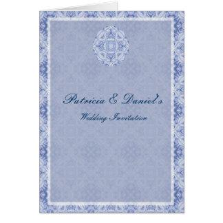 Blek - blåttmönsterbröllop hälsningskort