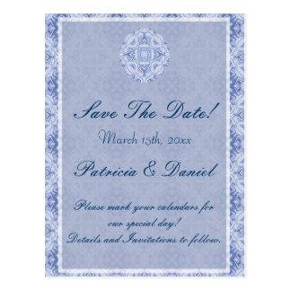 Blek - blåttmönsterbröllop vykort