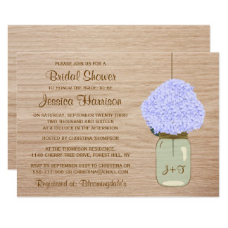 Blek - blåttvanlig hortensia & Masonburkmöhippa 12,7 X 17,8 Cm Inbjudningskort