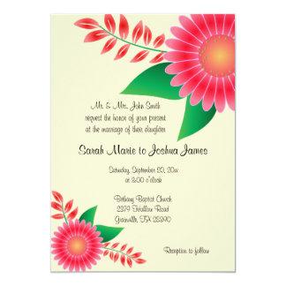 Blek - blom- bröllop för gult och för rosor 12,7 x 17,8 cm inbjudningskort