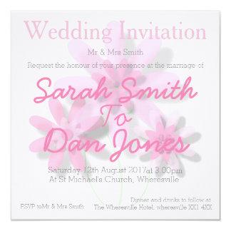Blek (Customisable) PinkFloral bröllopinbjudan, Fyrkantigt 13,3 Cm Inbjudningskort