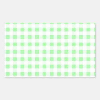 Blek - grön Gingham Rektangulärt Klistermärke