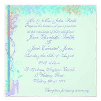 Blek - gröna inbjudningar för vårträdgårdbröllop