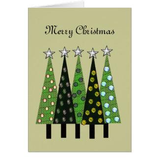 Blek - grönt god julträdkort hälsningskort