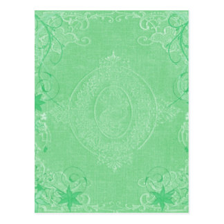 Blek mintgrönt för vintage, antik bokomslagstil vykort