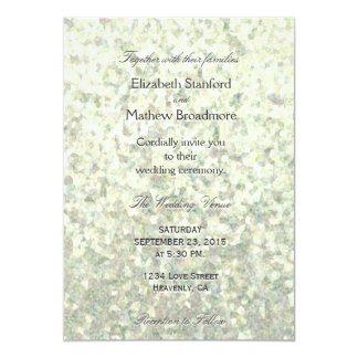 Bleka citronglitterkristaller 12,7 x 17,8 cm inbjudningskort