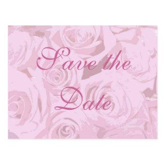 Bleka lavendelrosa ros Spara--daterar vykortet Vykort