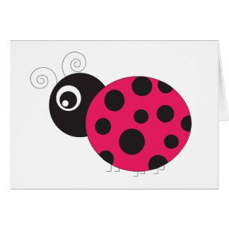 Bleknad rosa och svart nyckelpiga hälsningskort