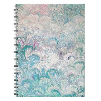 Blekt marmorera för påfågelvatten anteckningsbok med spiral