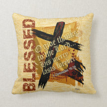 Blessed Bible Scripture 1st Chronicles 16:34 Throw Pillows