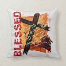 Blessed Christian Bible Scripture Psalm 27:14 Throw Pillows