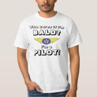 Bli skallig pilot- vem att bry sig? färg tshirts