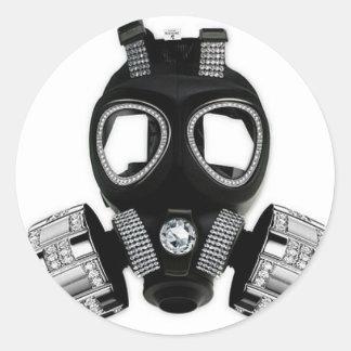 Bling gasmask runt klistermärke