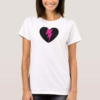 Blixt kasta i sig hjärta t-shirt
