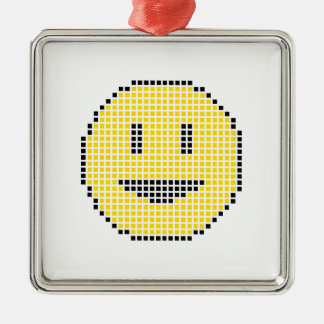 Blocky smiley face julgransprydnad metall