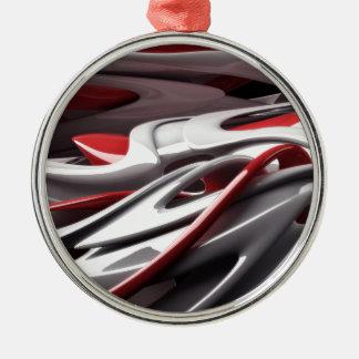 Blod och silver rund silverfärgad julgransprydnad