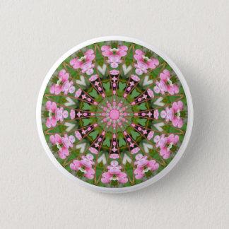 Blöda hjärtanatur, Blomma-Mandala 05.f Standard Knapp Rund 5.7 Cm