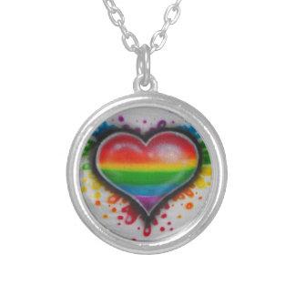 Blöda kärlekregnbåge Neclace Silverpläterat Halsband