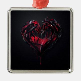 Bloda ner romantik silverfärgad fyrkantigt julgransprydnad