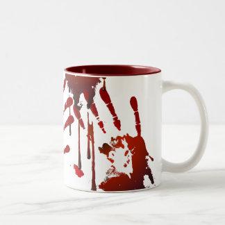 Blodig handprint Två-Tonad mugg