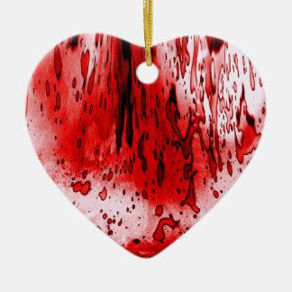 Blodig hjärta hjärtformad julgransprydnad i keramik