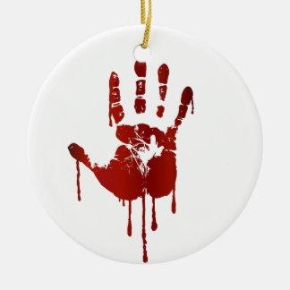 Blodiga halloween räcker rund julgransprydnad i keramik