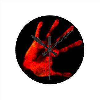Blodiga Handprint Rund Klocka