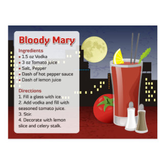 Blodigt Mary receptkort Vykort