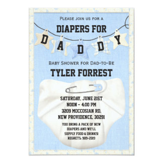 Blöjor för pappababy showerinbjudan 12,7 x 17,8 cm inbjudningskort
