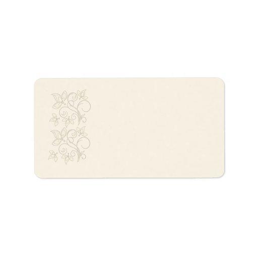 Blom- adressetikett för elfenben