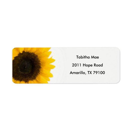 Blom- adressetikett för solros
