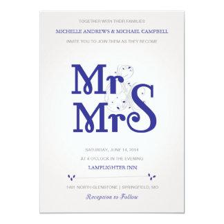 Blom- Amperstand bröllopinbjudan i marin 12,7 X 17,8 Cm Inbjudningskort