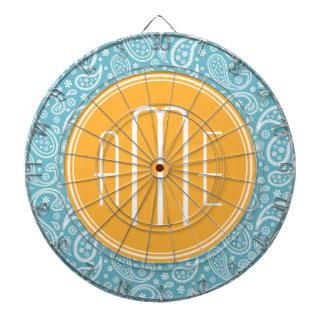 Blom- AquablåttPaisley mönster & gultMonogram Piltavla