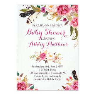 blom- baby showerinbjudan för bohemain 12,7 x 17,8 cm inbjudningskort