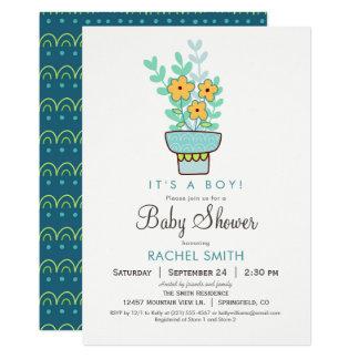 Blom- baby showerinbjudan för pojke 12,7 x 17,8 cm inbjudningskort